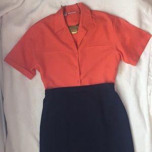 Orange button-down blouse